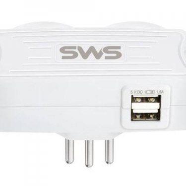 CARREGADOR SMS 2 USB + 2 TOMADAS BRANCO