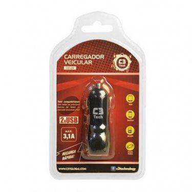 CARREGADOR VEICULAR C/ 2 USB 2.4A UC-24 C3TECH