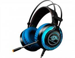 HEADSET GAMER STEREO C/MICROFONE PRETO/AZUL RGB AR-S9 K-MEX